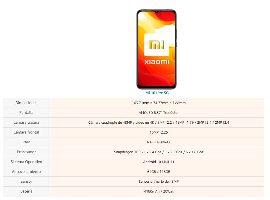 "Xiaomi Mi 10 Lite (Pantalla AMOLED 6.57"", TrueColor, 6GB+64GB, Camara de 48MP, Snapdragon 765G, 5G, 4160mah con carga 20W, Android 10"